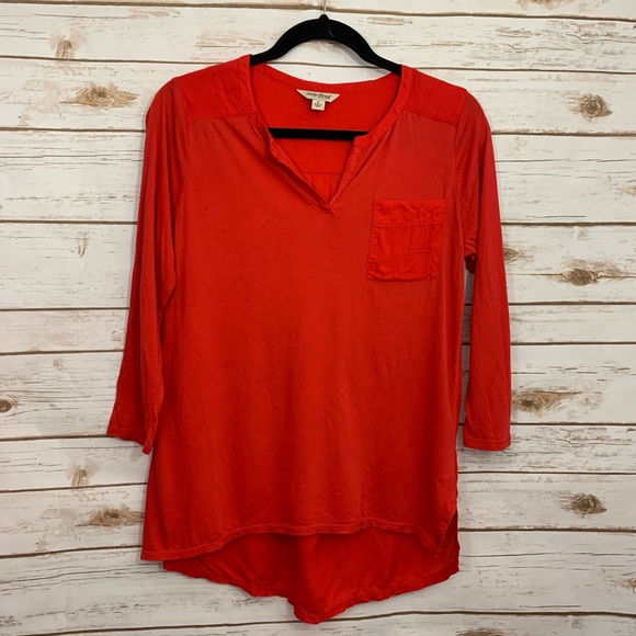 Lucky Brand Tops - Lucky Brand Red Hi Lo Hem 3/4 Sleeve Blouse